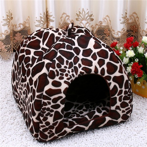 Tent Bed Pet House Foldable Soft Warm Leopard Print And Strawberry Cave