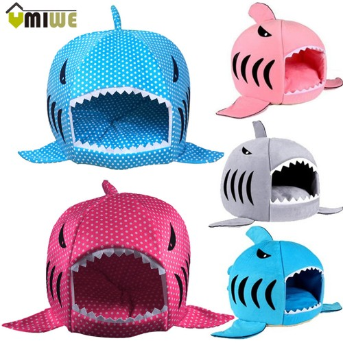 Warm Shark Shaped Pet Bed House With Mat Dog Sofa Sleeping Bed perro Dog
