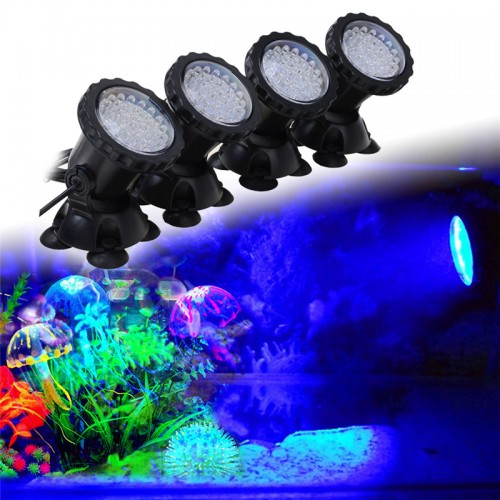 1 set With 4 Lights Aquarium Spot Light Remote Control Waterproof Submersible Spot Light RGB for