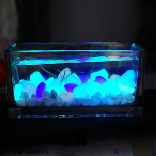10PCS Luminous Light emitting Artificial Pebble Stone Fish Tank Aquarium Stone Decoration