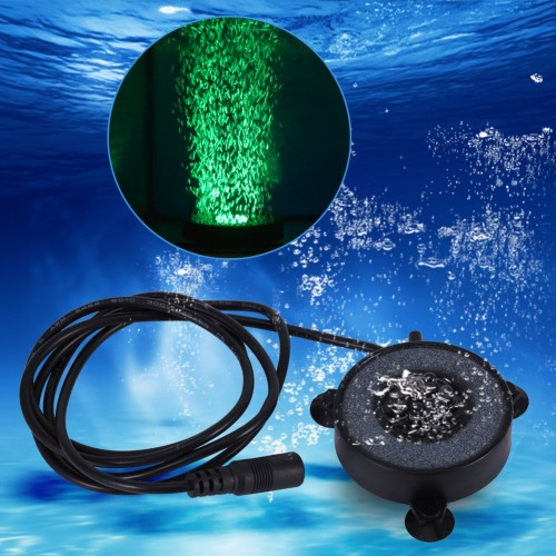 Underwater Round Fish Tank Lamp Waterproof 6 LED Air Bubbles Aquarium Submersible Light Colorful US EU
