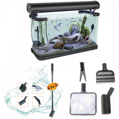 Aquarium Fish Tank Clean Tool Fork Gravel Rake Fishing Net Cleaning Sponge Easy Interchangeable