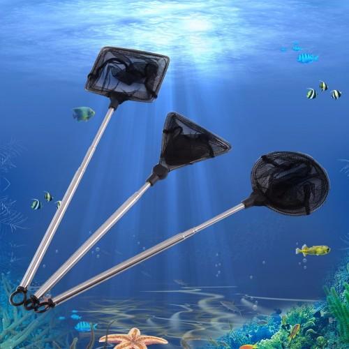 Fish Tank Aquarium Accessories Net Mini Adjustable Telescopic Fishes Shrimps Landing Net Stainless Steel