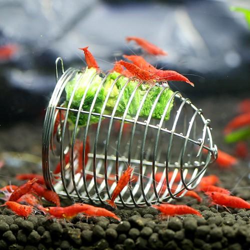 Stainless Steel Aquarium Crystal Shrimp Small Bait Cage Feeder Dry Spinach Feeding Cage Basket Ornamental Shrimp