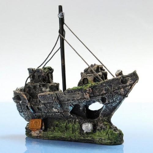 Resin Material Beautiful Aquarium Ornament Wreck Sailing Boat Sunk Ship Destroyer Fish Tank