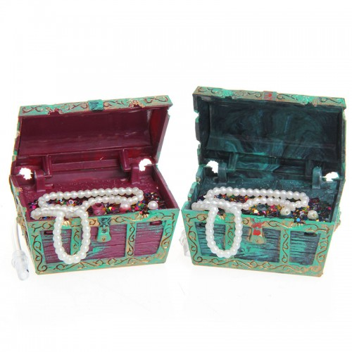 Treasure Chest Shaped Aquarium Air Action Ornament Fish Tank Aquascaping Decor