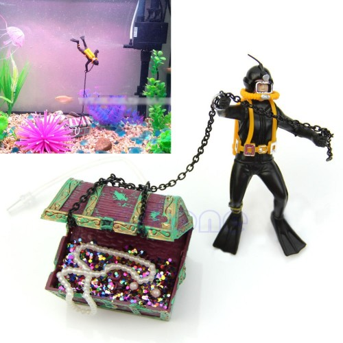 Treasure Hunter Diver Action Figure Fish Tank Ornament Aquarium Decor Landscape Akvaryum Dekor Aquarium Background