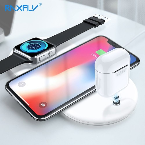 3 IN 1 QI Wireless Charger RAXFLY Wireless Charger For iPhone X 9 XS Plus