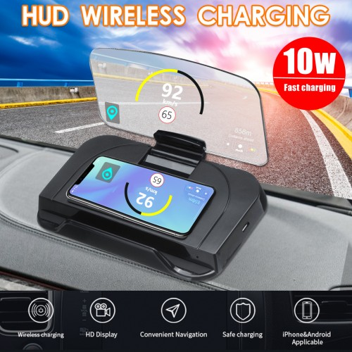 Qi Wireless Charger Head Up Navigation Display Glass Reflector Car HUD Holder for iPhone 8 8Plus