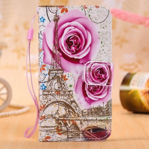 Rose Tower Leather Wallet Flip Case Soft Cover For Samsung Phones