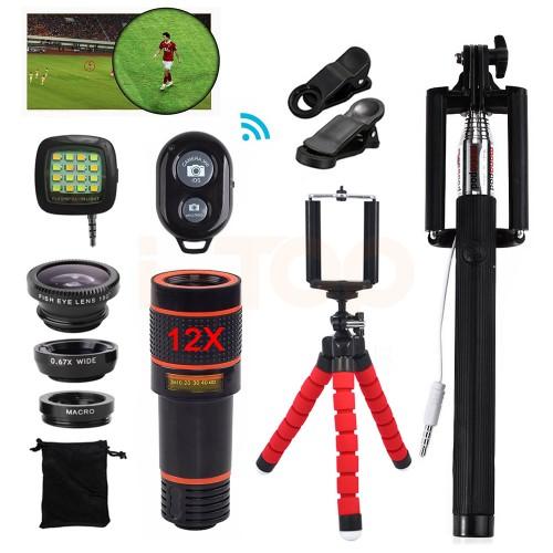 15in1 Phone Camera Lens Kit 12X Telephoto Zoom Lentes Telescope Fish eye Macro Wide Angle lenses