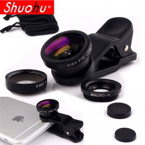 3 in 1 Fisheye Lens Microscope Mobile Phone Clip Lenses Fish Eye Wide Angle Macro Camera