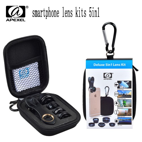 APEXEL 5in1 camera Lens Kit for iPhone xiaomi HTC HUAWEI Samsung Galaxy S7 j5 Edge S6