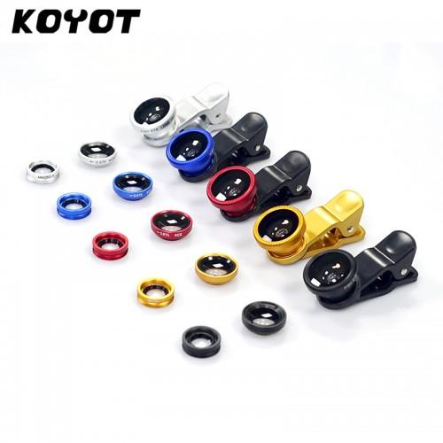 KOYOT Universal Clip 3in1 Fish Eye Clip Fisheye Smartphone Camer Wide Angle Macro Fisheye Mobile Phone
