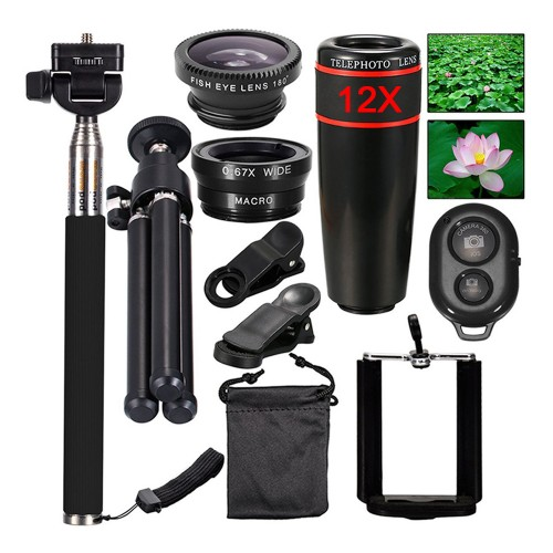 Mini Camera Mobile Phone Lens kit 12X Zoom Telephoto Lenses For iPhone and Android Smartphones Monopod