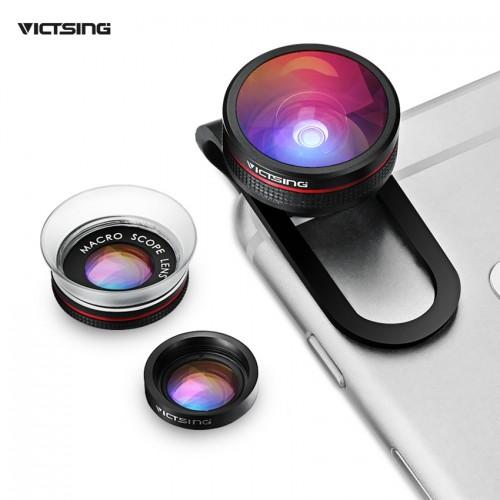 VICTSING Clip on 3 in 1 Camera Phone Lens Kit Fisheye Lens 12X Macro 24X Super