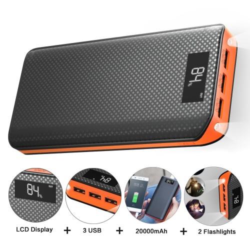 Power Bank 20000mAh Powerbank 3 USB External Battery Pack