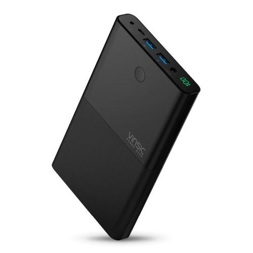 Vinsic 30000mAh Notebook Power Bank 4 5A 19V DC 2 USB External Battery Charger for Laptops