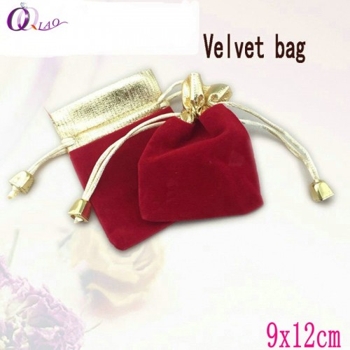 10Pcs pack 9x12cm Velvet flannel Drawstring Pouch Bag Jewelry Bag for Christmas wedding packing Jewelry