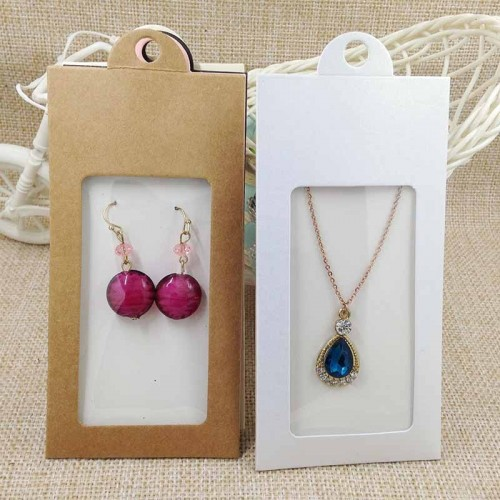 50PCS various color package display window box candy box with hanger necklace earring jewelry packing.jfif
