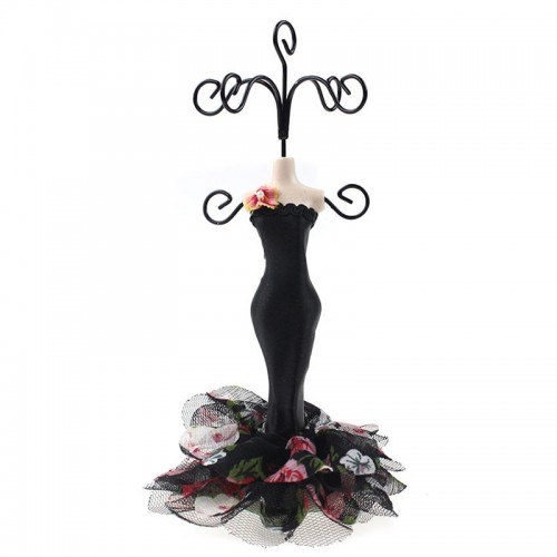 Black Red Mannequin Princess Dress Earrings Display Rack Fashion Jewelry Show Stand Holder For Women