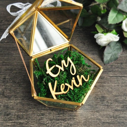 Custom Name Wedding Glass Ring Box Glass Ring Pillow Glass Jewelry Box Pentagon Geometric Copper Ring