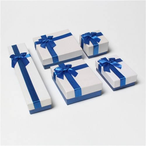 DoreenBeads Blue White Jewelry Packaging Box Ribbon Bowknot Case Boxes Display Classic New Year Valentine.jfif