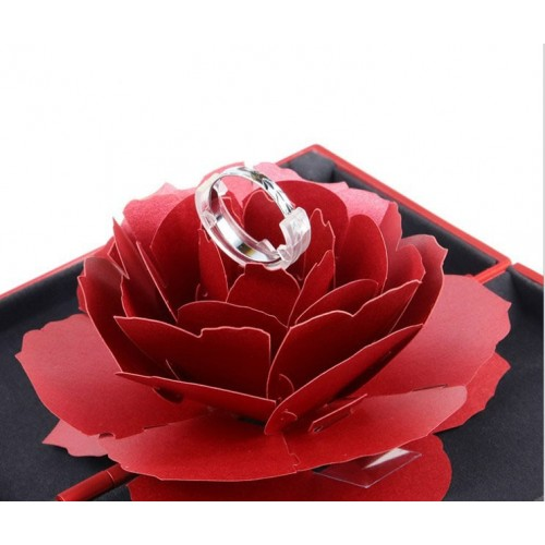 Foldable Rose Ring Box For Women Creative Jewel Storage Paper Case