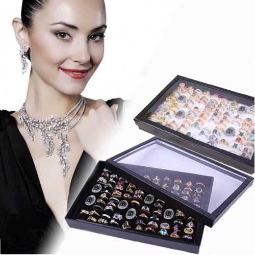 GEMIXI Jewelry Rings Display Tray Velvet 100 Slot Case Box Jewelry Storage Box 4 23