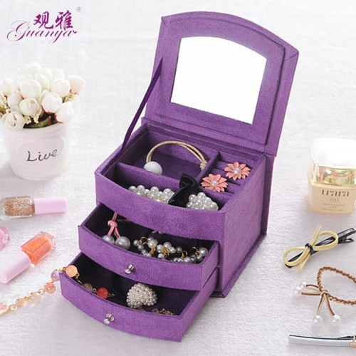 High Quality Velvet Three Layers Portable Multi functional Necklace Rings Jewelry Boxes Fashion Design.jfif