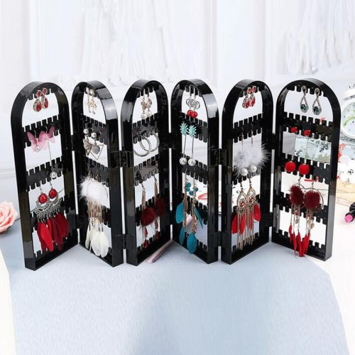Jewelry Organizer Plastics Earring Storage Doors Design Nice Jewelry Hanging Holder Rack Acrylics Jewelry Display Stand