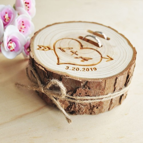 Personalized Rustic Wedding Wood Ring Box Engagement Ring Box Jewelry Wooden Ring Holder Wedding Decor