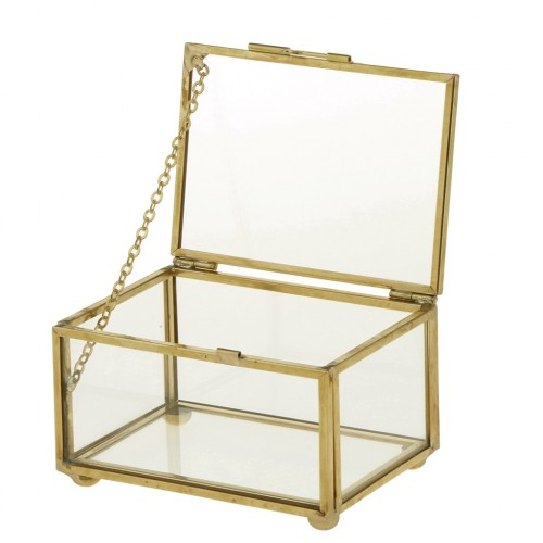 Phenovo Geometric Glass Style Jewelry Box Table Container for Displaying Jewelry Keepsakes Home Decoration