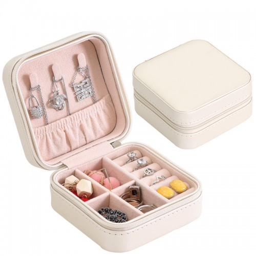 Portable Jewelry Box Zipper Leather Storage Organizer Jewelry Holder Packaging Display Travel Jewelry Case Boxes