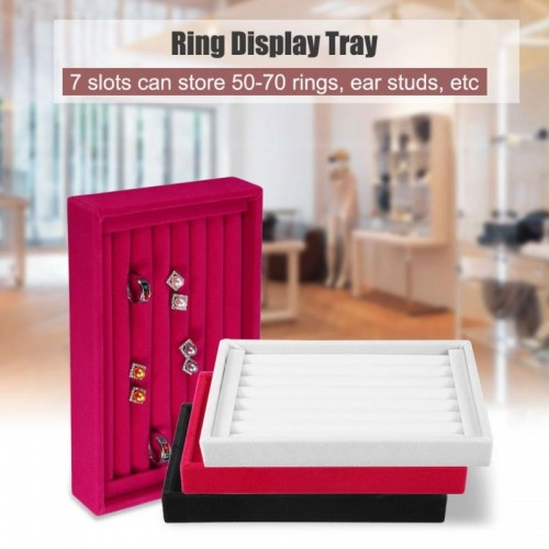 Portable Velvet Jewelry Ring Earring Insert Display Cufflinks Organizer Box Wooden Flat Stackable Tray Holder Storage.jfif