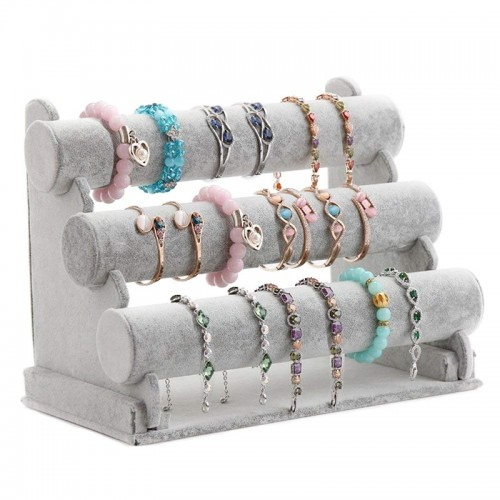 Triple Bracelet Holder Jewelry Display Stand Watch Bangle Necklace Storage Organizer Gray