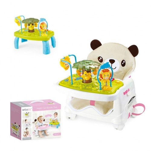 Baby Plastic Booster Seat High Chair With Removable Foldable Toy Tray 3 Point Safety Harness
