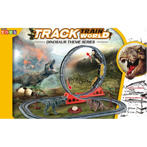 World Train Track Play Set with Dinosaur Toys Tracks and Accessories