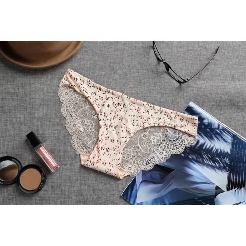 Cream Lace Women Panties Seamless Printed Underwear Briefs
