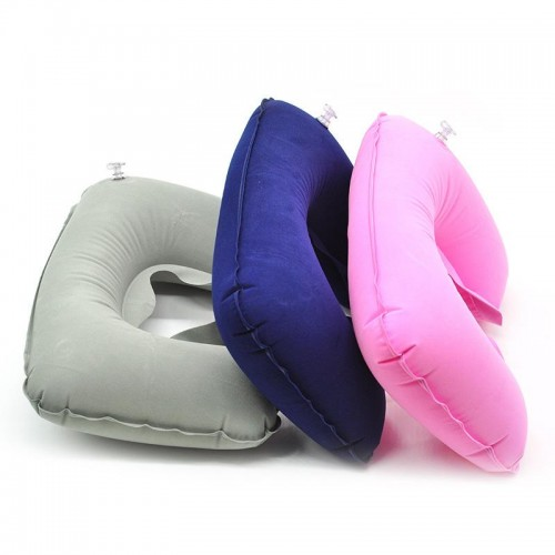 Inflatable U Shaped Travel Pillow Cushion pillow for Neck Protable Car Head Neck Plane Nap Rest Neck Back Flocking Pillow