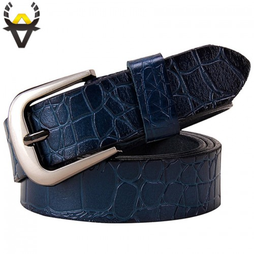 Blue Thin Belts for Women jeans Cow Genuine leather belt woman High quality Second layer cowhide