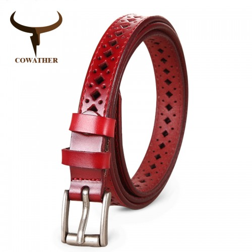 COWATHER Good Women belts cow genuine leather pin buckle vintage style top quality newest luxury