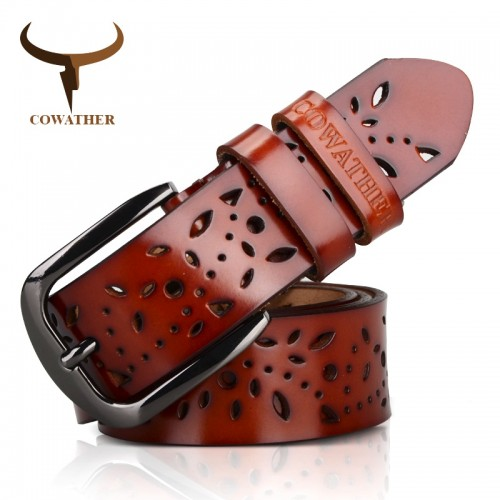 COWATHER New genuine leather jeans belts for Women Hollow pressed flower luxury strap female belt