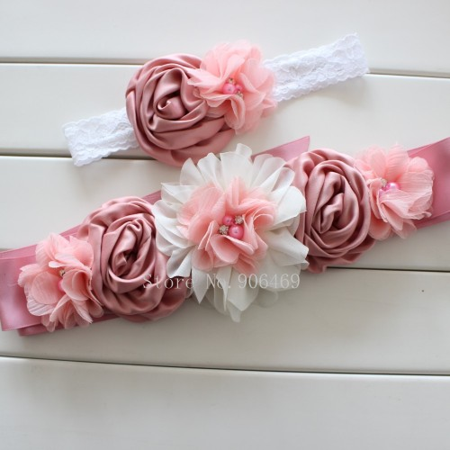 Fashion Vintage Pink ivory flower Belt Girl Woman Sash Belt Wedding Sashes belt with flower headband