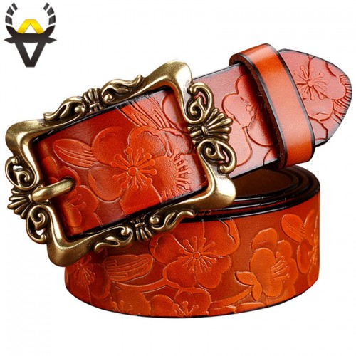 Fashion Wide Genuine leather belt woman vintage Floral Second Layer Cow skin belts for women Top