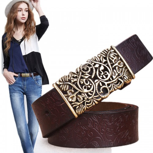 Genuine Cowskin Leather Belts For Women Carved Design Retro Metal Women Strap Cintos Ceinture Female High