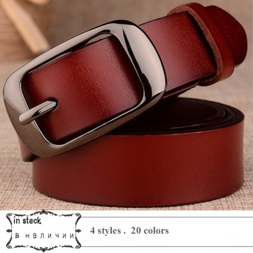 Genuine Leather Women Belt for Women Strap Female Pin Buckle Fashion Vintage Metal Embossing belts