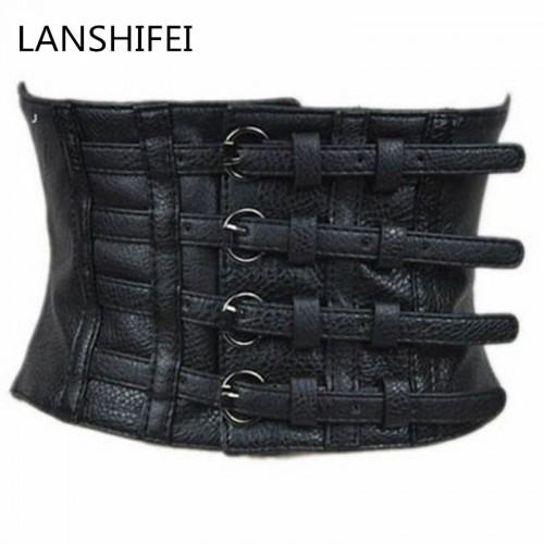 LANSHIFEI New women ultra wide adjustable slim body corset belt black PU leather retro design comfortable