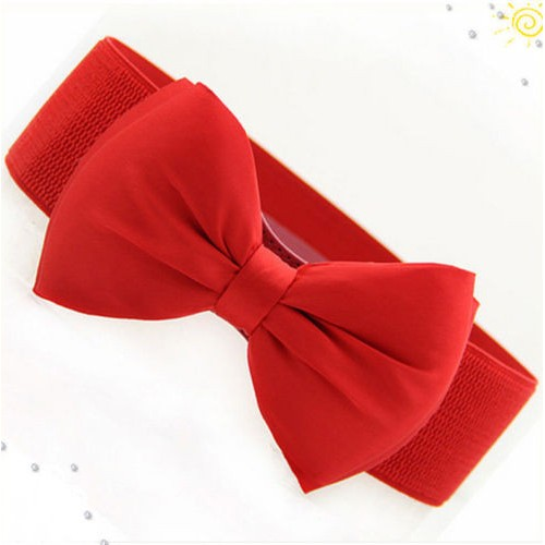 New Arrival Fashion Women Lady Bowknot Stretch Elastic Bow Wide Stretch Buckle Waistband Waist Belt