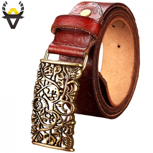 New Fashion Cow Genuine leather belt woman Vintage floral metal buckle Wide belts for women Top